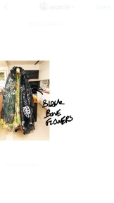 Several layers of printed floral capes conquering my dummy. Black bone flower, daisy, plum flower and more.. 七層斗篷征服了瘦弱的人檯