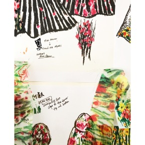 """Mood board for the character Helena's textile and costume design in """"Adolf"""" by me for Shinehouse Theatre Taiwan. Printed sunflower fields and seeds scattered across cobblestones. 設計中角色「海倫娜」的向日葵服裝與印花:石子路上散落一地的花瓣和花籽。"""