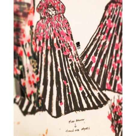 """My sketches and prints for the character Pina, whom also is portrayed as The Mother: Textile and costume design in """"Adolf"""" by me for Shinehouse Theatre Taiwan. Printed plum flower branches striking on the fourth day snow, when the sublime snow fields begin to stain and melt. 設計中角色「碧娜」/「母親」的服裝與印花:梅樹枝子四處林立於停雪後的第四天,半融著的雪混踏著旅人的泥濘。"""
