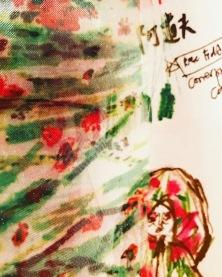 """與曉劇場合作的「阿道夫」中,阿道夫一角的非洲波斯菊服裝與印花。 最近期待下一部作品持續創作出細膩的、有故事的、充滿東方家鄉回憶的手繪印花。 My mood board for the character, Adolf's textile and costume design in """"Adolf"""", stage performance by Shinehouse Theatre Taiwan: Printed gerberas I'm chaotic strands. Recently I've found much inspirations from vintage printed silks. Really looking forward to the upcoming projects creating prints from raw drawings, merging my fond memories of hometown through the layering of florals."""