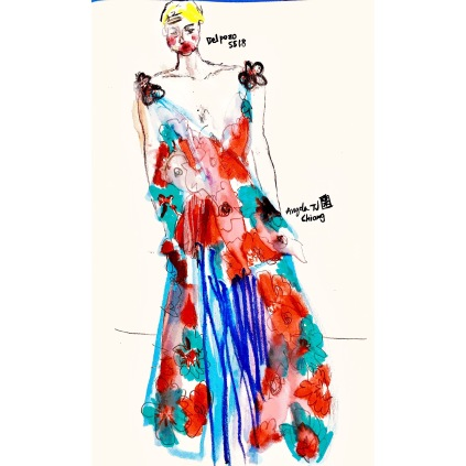 Drawing my favourite looks from Delpozo Spring Summer 2018