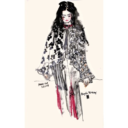 Drawing one of my favourite looks from Anna Sui Spring Summer 2018